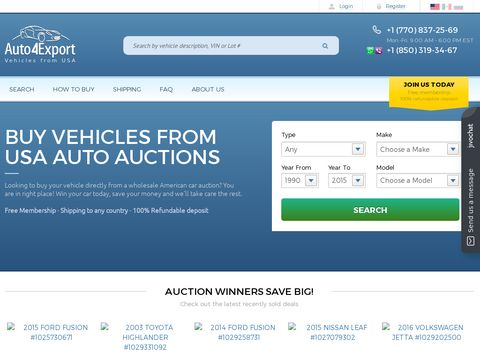 Vehicles for Sale for Export   USA Online Car Auctions -  Auto4Export