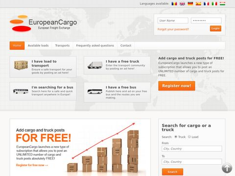 European freight exchange transport EuropeanCargo
