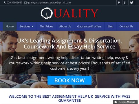 UKs Best Assignment Help With Pass Guarantee, Essay and Coursework | Quality Assignment