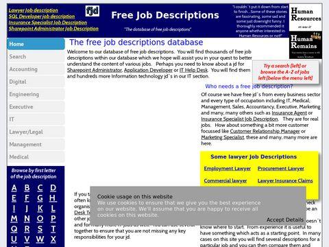 Free Job Descriptions