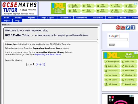 GCSE Maths Tutor - GCSE mathematics revision, free notes & videos for effective maths revision.Search for a tutor,talk about GCSE maths,buy maths books,download maths worksheets,view interesting and useful maths links.