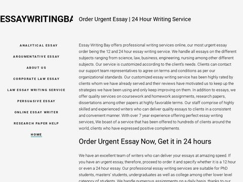 Urgent Writing Service   24 hour Essay - Essay Writing Bay