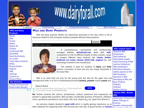 Dairy and Milk Products Site