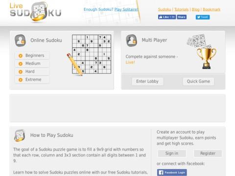 play free Sudoku/Soduko puzzle games online