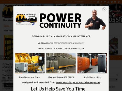 Diesel generators and uninterruptible power supplies for powercontinuity