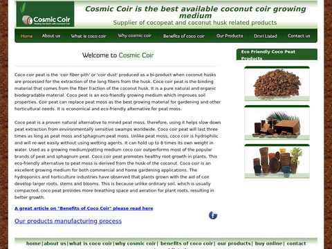 www.cosmiccoir.com your source for best coco coir peat products. Cosmic Coir is the best available coconut coir growing medium