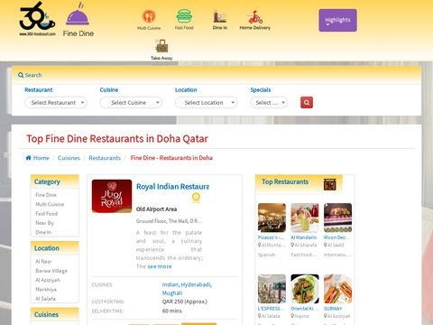 Fine Dining Restaurants in Doha Qatar   360-Foodcourt