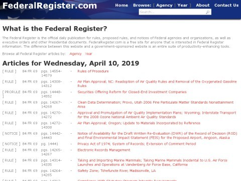 Free Federal Register
