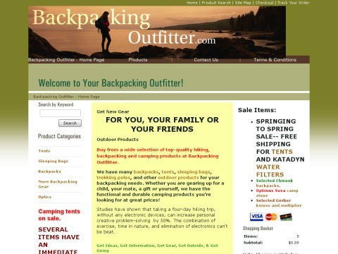 BackpackingOutfitter.com for hiking and camping information and gear