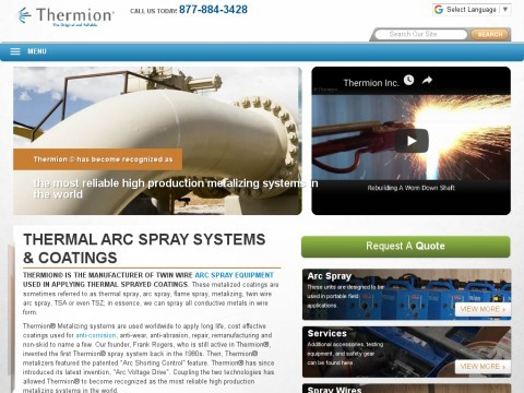 Thermion Metalizing Systems, Arc Spray, Thermal Spray, Metal