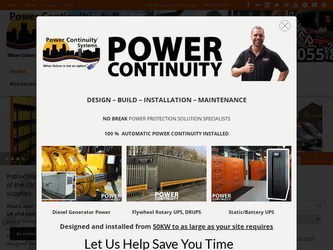 Diesel generators and uninterruptible power supplies for powercontinuity