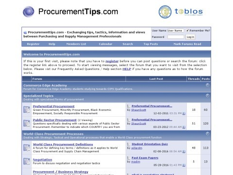 Procurementtips.com: Exchanging tips, tactics, information a
