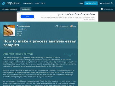 Process Analysis Essay Sample