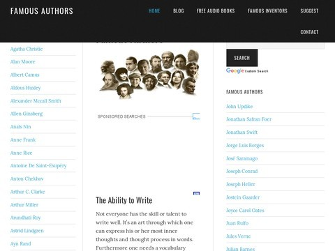 Famous Authors | List and Biographies of Most Famous Authors and their Books